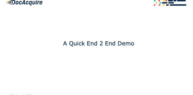 A Quick End 2 End Demo